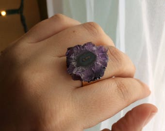 Amethyst Stalactite Adjustable Ring