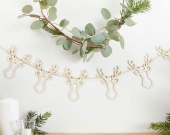 Christmas Bunting | Christmas Decorations | Wooden Stag Bunting | Rustic Christmas Decorations | Wooden Decorations | Stag Head Bunting