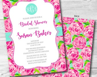 Lilly Pulitzer Invitation Printable (Front & Back)- Bridal Shower Invitation - Printable Bridal Shower - Can be customized for any event