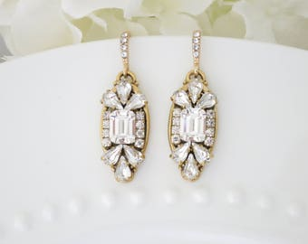 Art Deco Wedding Earring, Swarovski crystal bridal earring, Gold wedding earring, Rhinestone drop earring