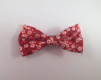 Red Liberty Mitsi Valeria fabric bow Barrette
