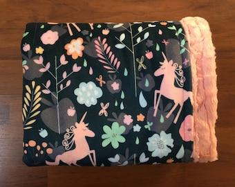 Unicorn Blankets / baby & toddler / crib bedding, nursery blanket, baby shower gift, nursery decor / unicorns, magic, florals, baby girls