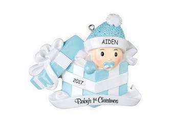 Personalized Baby in Present First Christmas Ornament - Blue