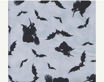 SALE Witches Brew Haha Halloween Fabric, Brooms and Bats Cotton Fabric  / 1/2 Yard and 1 Yard Cuts / Halloween Fabric / Cotton Fabric