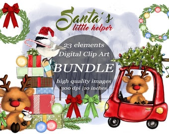 Christmas Clipart Bundle Rudolph Santa's Helper Clip Art Watercolor Winter Landscape Christmas Tree Bird Illustration Digital Craft  Clipart
