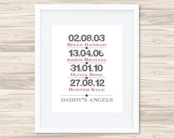 Daddy's Angels Father's Day Print