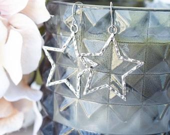 large star earrings silver star earrings star dangle earrings silver dangle earrings 90s jewelry 90s fashion