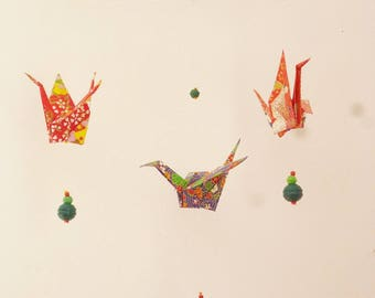 Mobile three cranes in paper Japanese chyogami