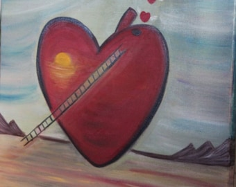 Abstract oil painting - Paint hearts dreams - cotton frame 50 x 65 cms