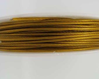 Fil cable 1mm bobine 10m Vieil Or fil gaine crinelle Cordon DIY création bijoux