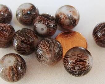 10 perles Rondes 12mm verre peint MARRON veiné NOIR PV-peint-12 création bijoux
