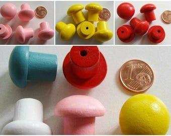 5 mini poignées bouton en Bois peint 20mm 5 Couleurs ou mix