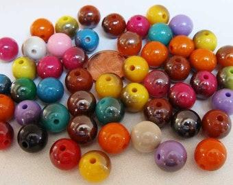 50 perles acryliques rondes 10mm mix bicolores RES-37 DIY création bijoux
