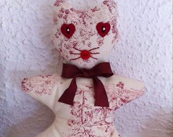 Cat plush red toile de jouy fabric