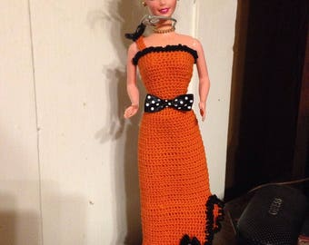 Handmade Crocheted Barbie Dress with shoes- Orange and Black