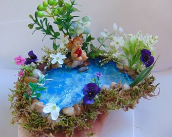 Pond with angel and violets,Garden Accessories,River rock terrariums pond, fairy house pond, fairy garden, fairy pond,miniature pond