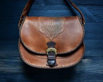 Brown leather bag, Scandinavian style, Mjolnir, vikings, tree of life, LARP