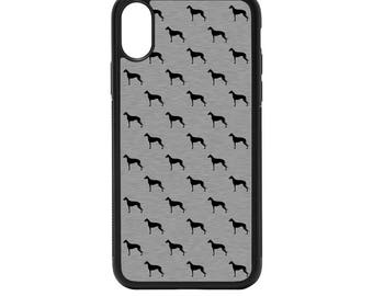 Greyhound Silheouttes Rubber Bumper Case - iPhone X 8 7 6 5 SE, Galaxy S8 S7 S6 S5 Edge Plus, dog pattern