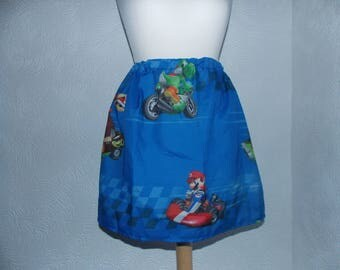 cute nintendo mario kart handmade upcycled vintage fabric skirt one size