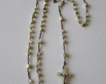 Vintage Mother of Pearl Rosary Antique MOP Rosary