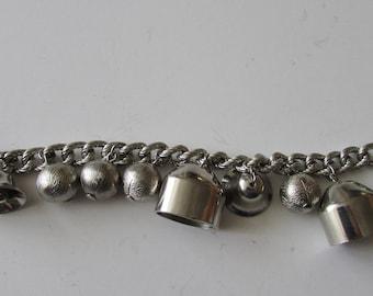 Vintage Bell Charm Bracelet Silver Bells & Balls Jingly Bracelet