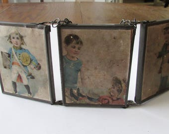 Antique Folding Triple Mirror with Chain Children Children's Dressed Up Pictures Victorian
