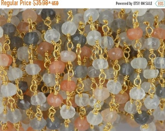 50% OFF 5 Feet Multi Moonstone Beaded Chain - Vermeil Chain or 24K Gold Plated Wire Wrapped Chain - Beads Size 3-4mm