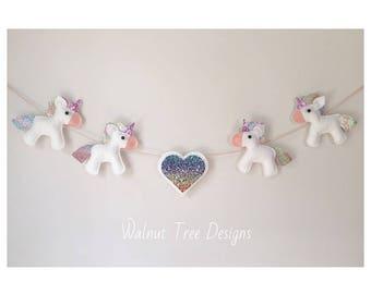 Unicorn Garland, Felt Unicorn Garland, Felt Garland, Unicorn, Rainbow Heart
