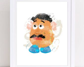 70% toy story watercolor, watercolor toy story, mr potato head, toy story poster, mr potato poster, mr potato print, nursery toy story, kids