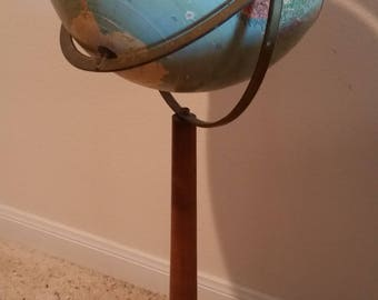 """Vintage Replogle 12"""" Reference Globe - 1950s - Floor Model with Wood Stand - 33"""""""