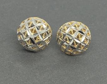 14K Two-Tone Diamond Cut Dome Style Stud Earrings