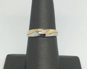 14K Two-Tone Gold CZ Band