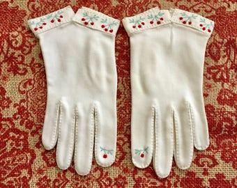 Vintage Gloves Formal Gloves Embroidered Gloves White Gloves Ivory Gloves Wedding Gloves Bridal Gloves Flower Girl Gloves Cherry Gloves