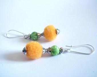 Summer earrings, tassel Orange green beads