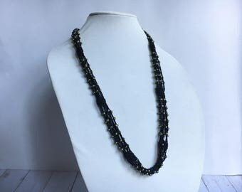 Beaded Crochet Necklace, Black & Metallic Green - Multistrand Necklace - Seed bead necklace - Crochet Gifts - Beaded Jewelry - Boho Crochet