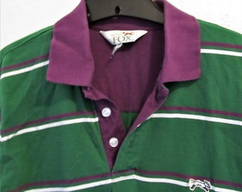 A Men's Vintage 90's,Preppy Short Sleeve Striped POLO Shirt By The FOX.M(40L)