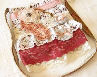 Crossover Bag Boho Gypsy Bag Lace handbag brown red pink handbag Small lace bag Small handbag Rustic bag Fabric bag Birthday gift for wife