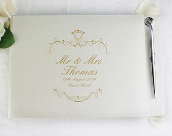 Personalised Guest Book Mr Mrs Gold Wedding Gifts Message