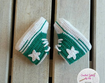 Booties, crochet shoes converse-newborn-size 16-3-6 months
