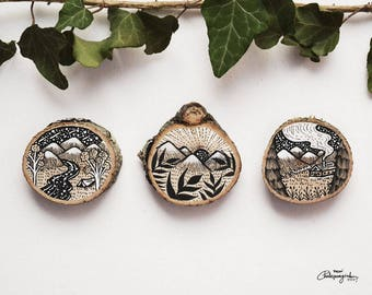 Set of 3 Small Mountain Sceneries // Original Wood Slice Art, Wood Art. Designed by Menisart