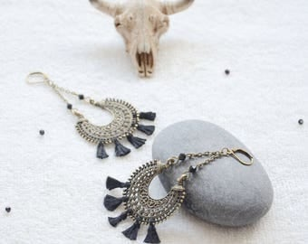 Black and bronze earrings boho chic, Bohemian and hippie chic