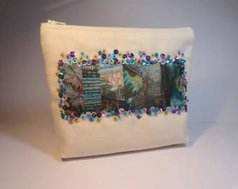 Pouch Ecru canvas with nature theme embroidered sequin transfer