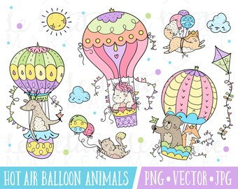 Hot Air Balloon Animals Clipart Set, Cute Woodland Nursery Animals, Hot Air Balloon Illustration Set, Baby Animals in Hot Air Balloons, Kite