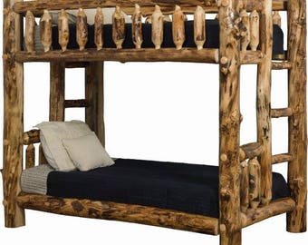 Rustic Aspen Log TWIN Over Twin, Full, Or Queen Complete Bunk Beds   Amish