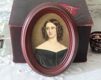 Vintage portrait of a young woman ~ pressure in oval plastic frame ~ 50s 60s