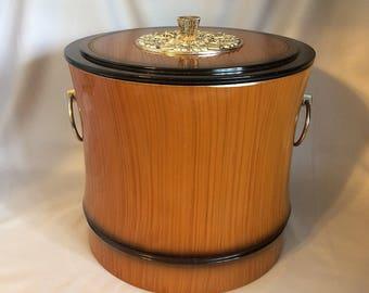 Vintage BAMBOO ICE BUCKET, Mid Century Faux Wood Bamboo Shaped Champagne Ice Bucket, Tiki Bar Ice Bucket, Vintage Regency Barware, 1960s