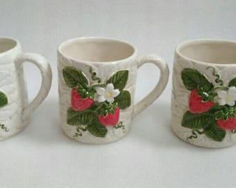Vintage set of 3 Sears and Roebuck Strawberry Mugs