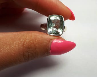 Green amethyst ring; size 6.5US, solid 92.5 sterling silver, faceted gemstone, free shipping, sizing available