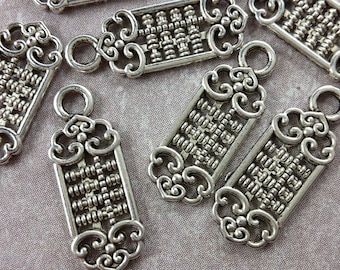 10 pcs, small sequins boho openwork heart scroll work, charms, silver - 18 x 7 mm