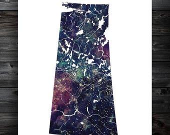 Saskatchewan Star Map, Art Print, Canadian Province, Home Decor, Nebula Wall Art, Canada, Galaxy, Watercolor, Modern Decor, Gift, Sask, SK